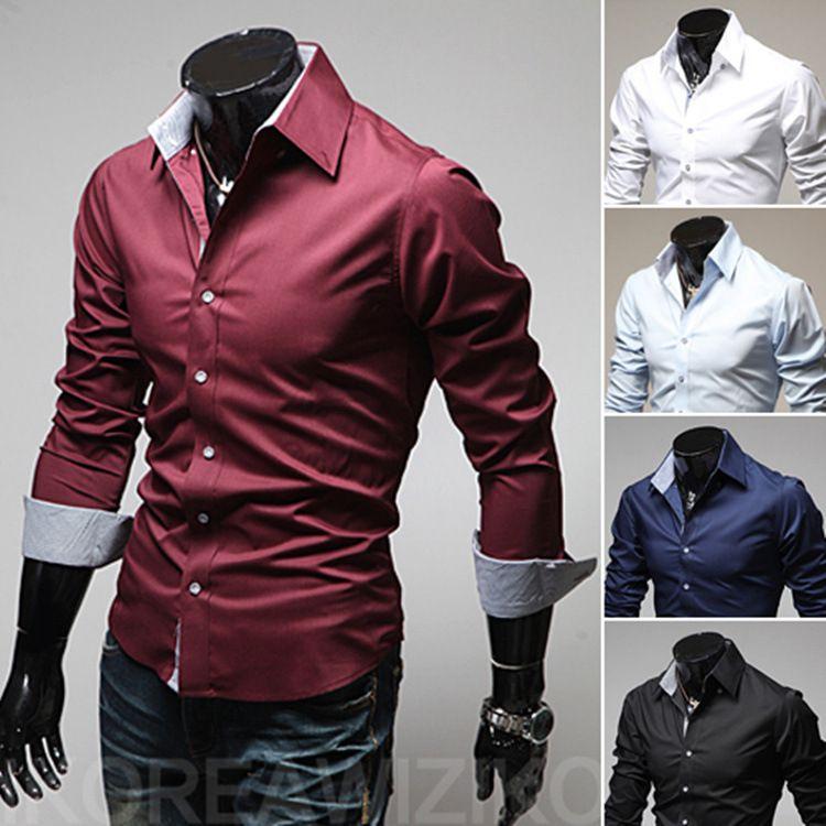 2017 Hotting Yeni Erkek Lüks Casual Şık Slim Fit Gömlekler 4 Boyut ABD XS L 5 Renk