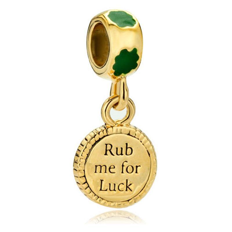 Золотое покрытие RClover руб мне на удачу Святой Патрик мотаться очарование бисера fit Pandora Chamilia biagi браслет