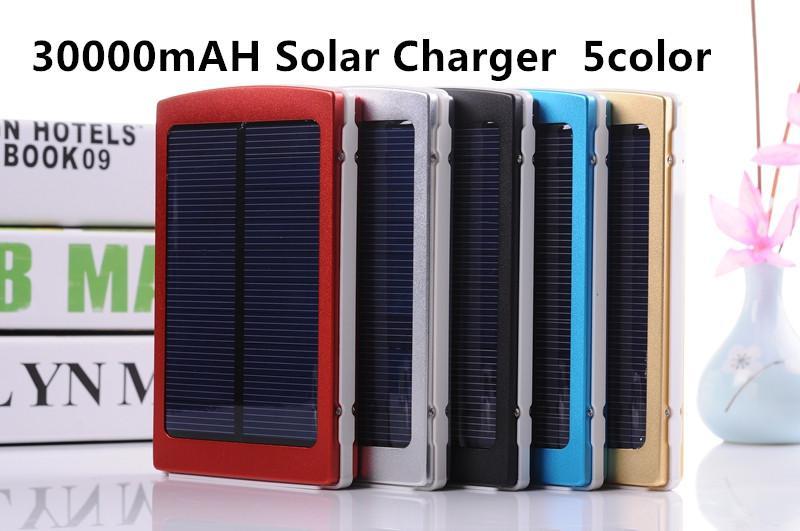 30000 mAH Solar Charger 2 Port Harici Pil Paketi Cep Telefonu iPhone 4 4 s 5 5 S 5C Samsung Taşınabilir Güç Bankası 30000 mah