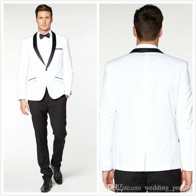 Белый и черный 2015 жених смокинги на заказ мужские свадебные костюмы женихи Шафер выпускного вечера формальные мужские костюмы (куртка + брюки + галстук + носовой платок)