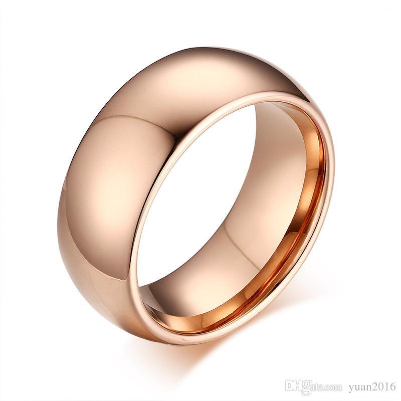 Anel de casamento 8mm Rose Gold abobadado Mens Tungsten Carbide Weeding Anel Banda para Homem E Mulher