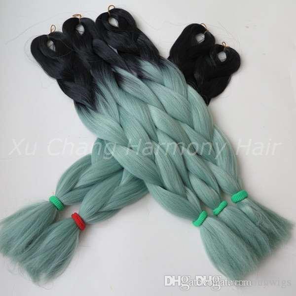 Kanekalon جامبو تجديل الشعر الاصطناعية 24 بوصة 100G BlackMint / Dull Green أومبير اثنين من لهجة الشعر الملون