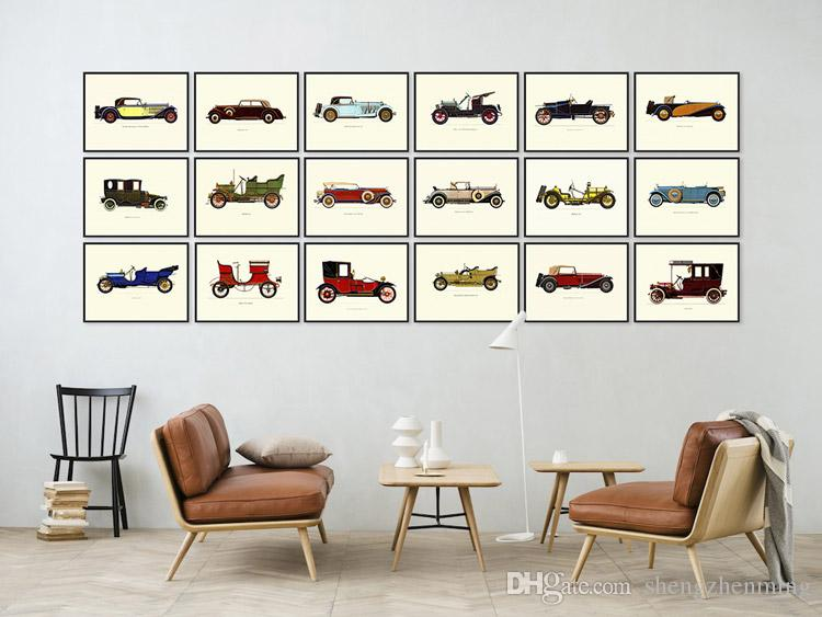 2019 Modern Famous Vintage Retro Car Collection A4 Large Art Print Poster  Hipster Wall Picture Canvas Painting No Frame Cafe Bar Deco From ...