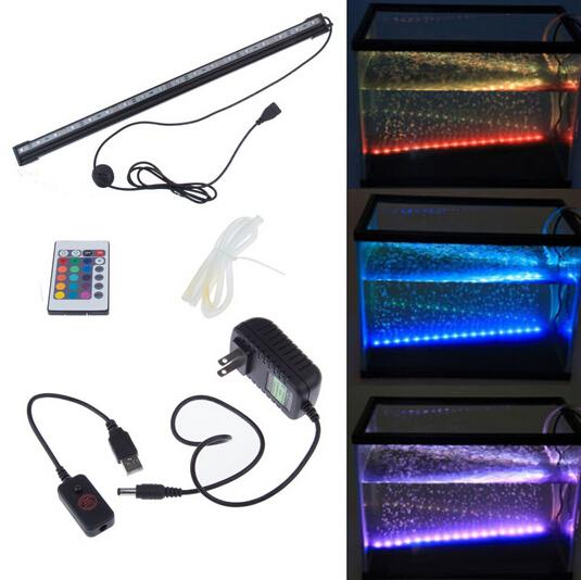 Remote RGB Air Bubble LED Luz de acuario Tanque de peces Tubo de lámpara de coral IP68 6W 18LEDs 46cm Barra de luz LED Sumergible Down Underwater LED Light
