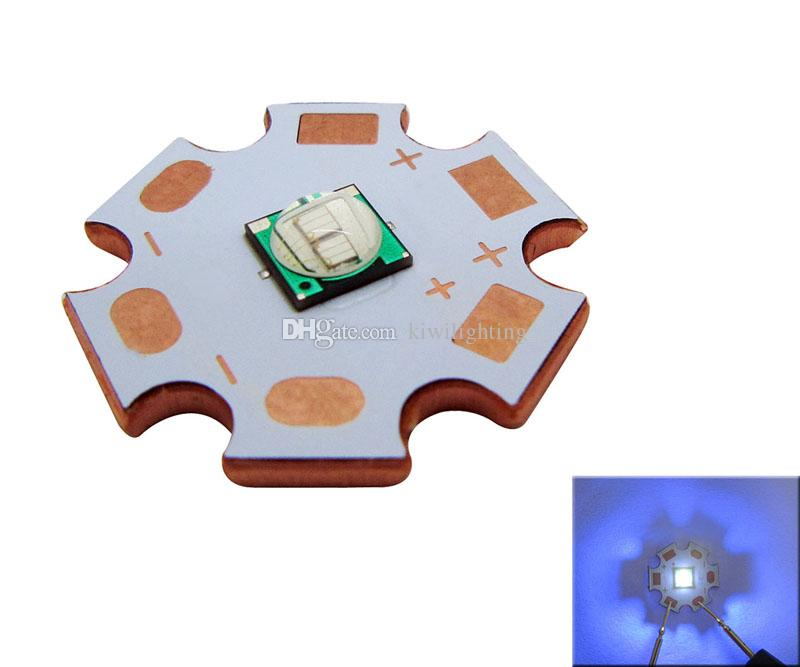 Epileds viruta 5050/7070 púrpura UV 365nm / 395nm llevó la luz de 20 mm Junta de cobre 50pcs / lot