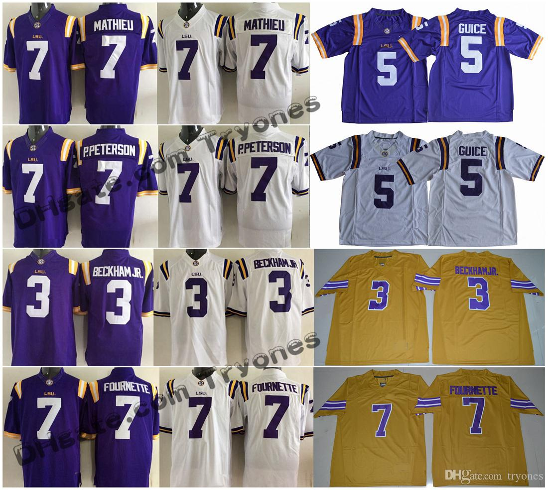2018 LSU Tigers College Football maglie 3 Odell Beckham Jr. 7 Leonard Fournette Patrick Peterson Tyrann Mathieu Maglie