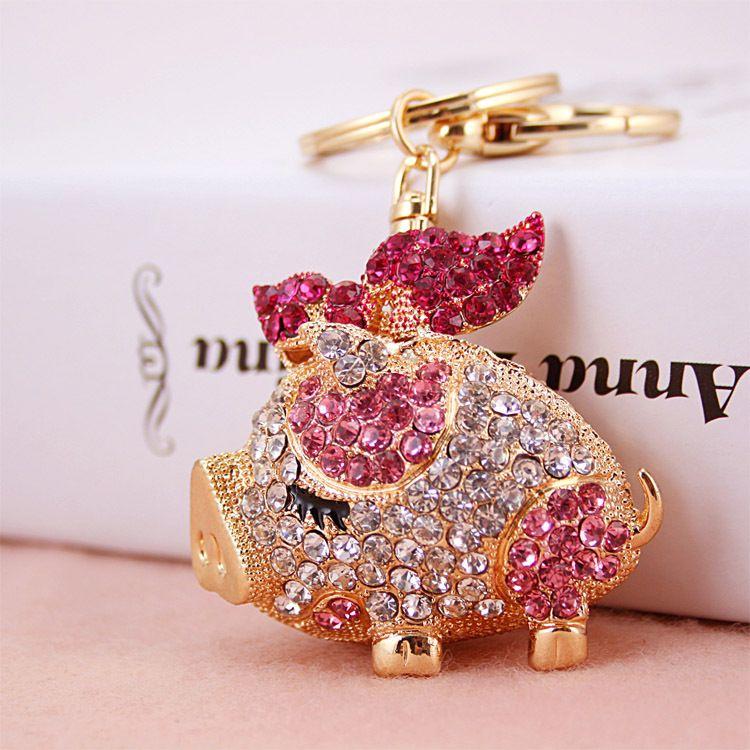 Цепочки для ключей из сплава свиньи высшего качества для женского брелка, подвески в виде кошелька / сумки, подарок, позолоченный брелок из сплава, перевозка груза падения
