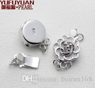 Envío gratis accesorios de la perla al por mayor Yu fu yuan 925 plata de la forma del ciruelo doble collar de perlas pulsera de cierre YPJ3