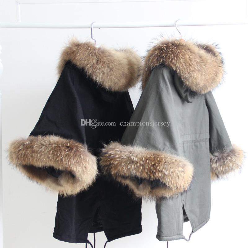 Verdadeiro casaco de pele de guaxinim peles lazer casaco Poncho Mulheres Altifalante Manga Casaco casaco de inverno Japão Coreano