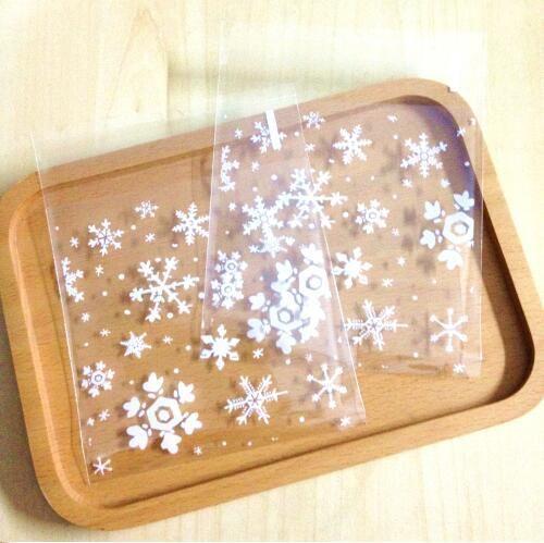 Wholesale Clear Snowflake Christmas Cookies Bag Cellophane Adhesive Plastic Printing Bakery Gift Bags Cello Christmas Paper Gift Bags Christmas