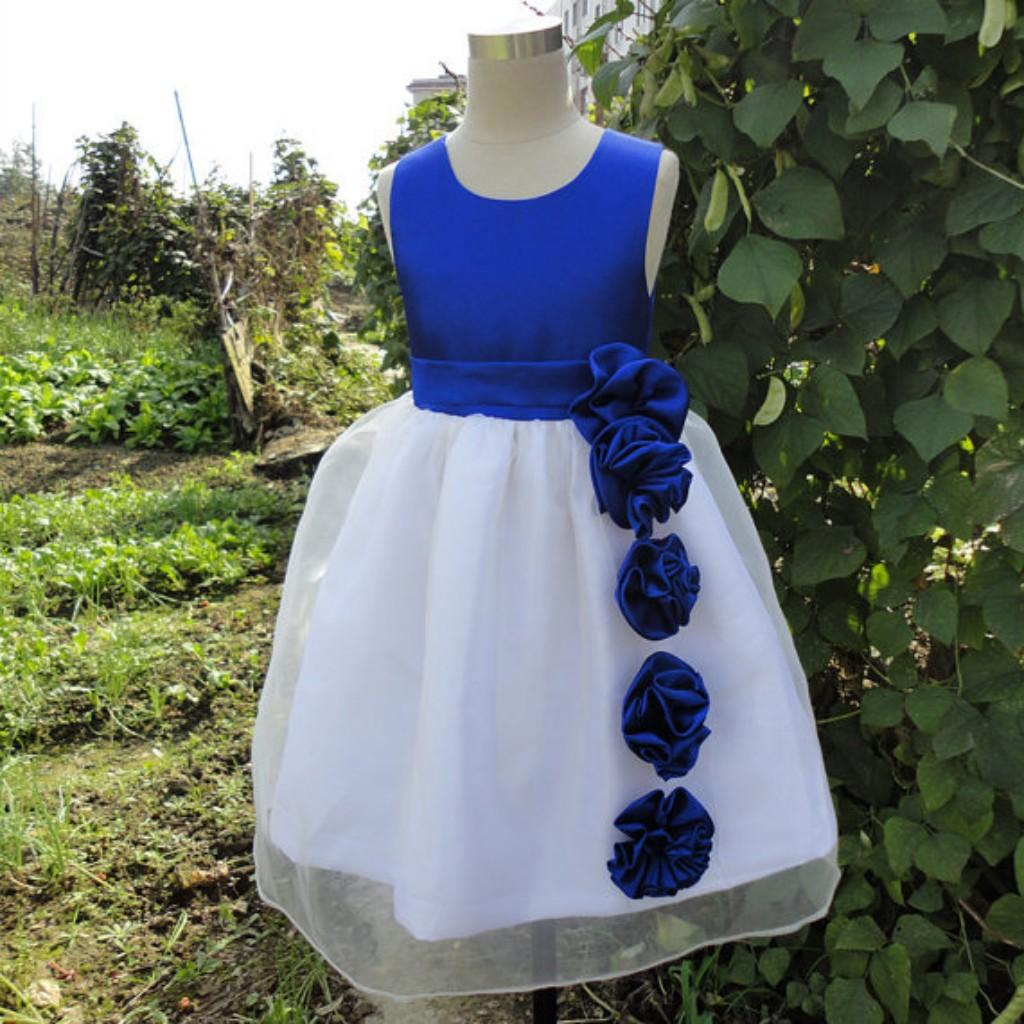 6a98fd79e4b Real Image Royal Blue Flower Girl Dresses A Line Jewel Sleeveless Handmade Flowers  Sash Satin Kids Gown for Wedding Party
