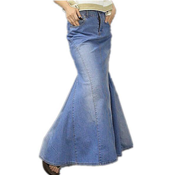 شحن مجاني 2018 S-XL موضة جديدة لونغ ماكسي الدينيم الأزرق تنورة طول للنساء الطابق حورية البحر ذيل السمكة تنورة جينز مع الشق الإمتداد