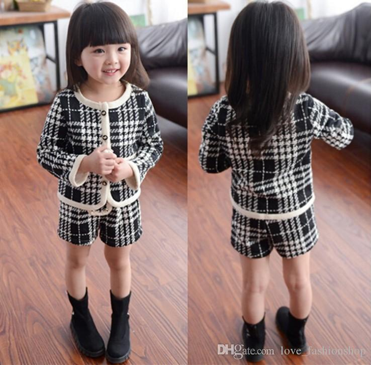 High Cute Baby Girls Houndstooth Strickjacke Short zwei Stück Anzüge Kleidung Outfit setzt Mädchen Boutique Kleidung Kinder Kinderkleidung