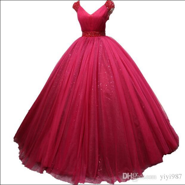 Foto vere Stunning Ball Gown Abiti da sposa Abiti da sposa con scollatura a V Scollatura per consolatura Manica Pulffy Lungo Red Dress Prom Dress