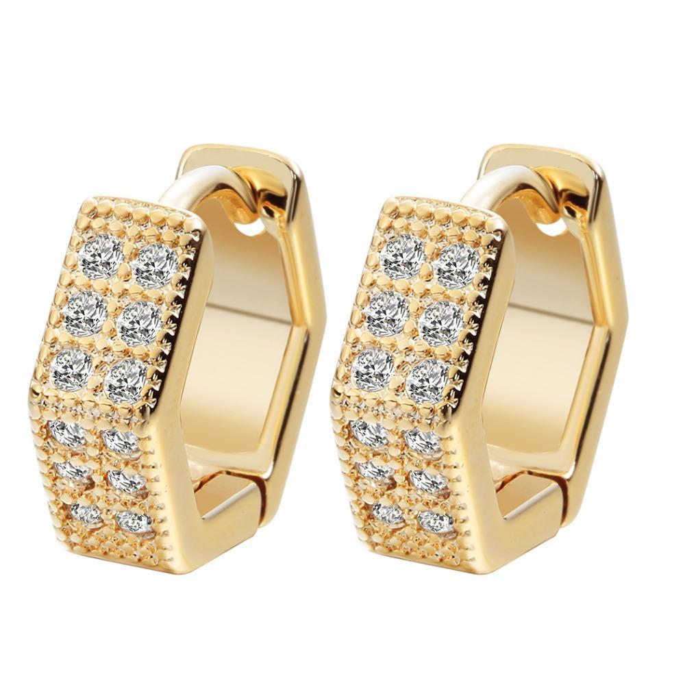 All'ingrosso-QIMING 2017 Orecchini in argento Charms gioielli geometrici New Gold Tone Women CZ pietra orecchini di nozze di cristallo per le neonate A1279