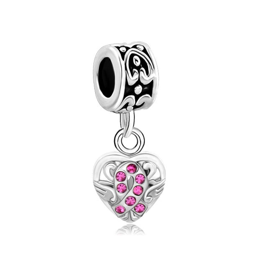 European style metal pink crystal celtic knot dangle bead infant lucky charms Fits Pandora charm bracelet
