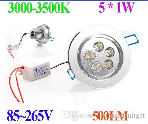 6PCS / lot 3W 5W LED Down Light потолочная утопленная лампа белый / теплый белый свет со светодиодным драйвером