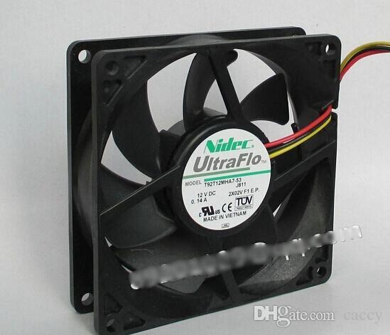 Original Nidec T92T12MHA7-53 9225 9CM NBR ventilador hidráulico Ventilador de refrigeración con 12V 0.14A 2400 RPM 25dbA 92X92X25MM 3 hilos 3Pins Connector