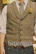 2018 Unique Wool Tweed Vest 3 Style For Choose Groom Vests British Style Mens Suit Vests Farm Wedding Waistcoat Mens Dress Vests Slim Fit