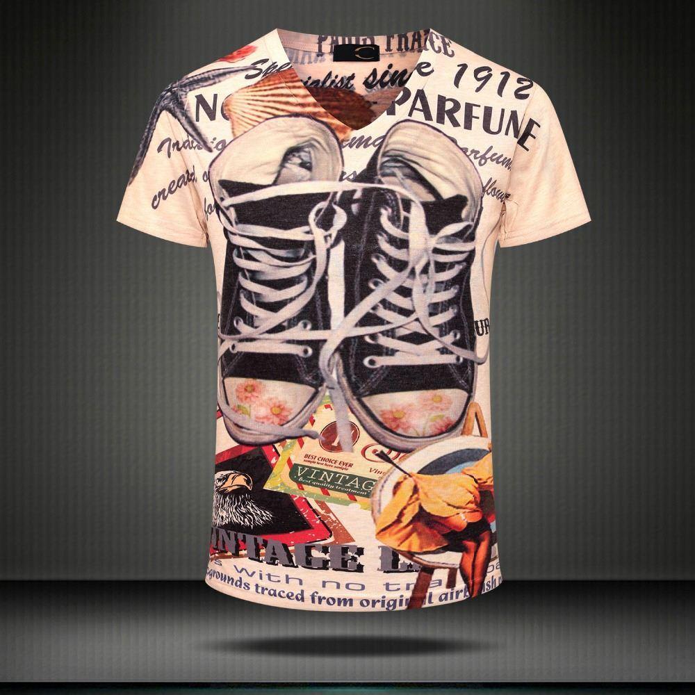 W1209 2015 винтаж панк с коротким рукавом v шеи 3d печатных футболка мужчины марка повседневная хлопок футболка camiseta hombreTops Тис мужской одежды