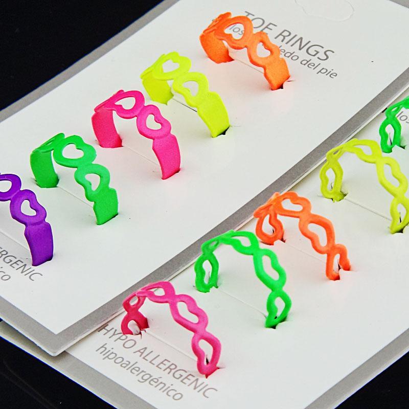 30 pcs verão jóias moda mulheres mix cor esmalte coração oco do dedo do pé anéis ajustável frete grátis atacado jóias lotes A-393
