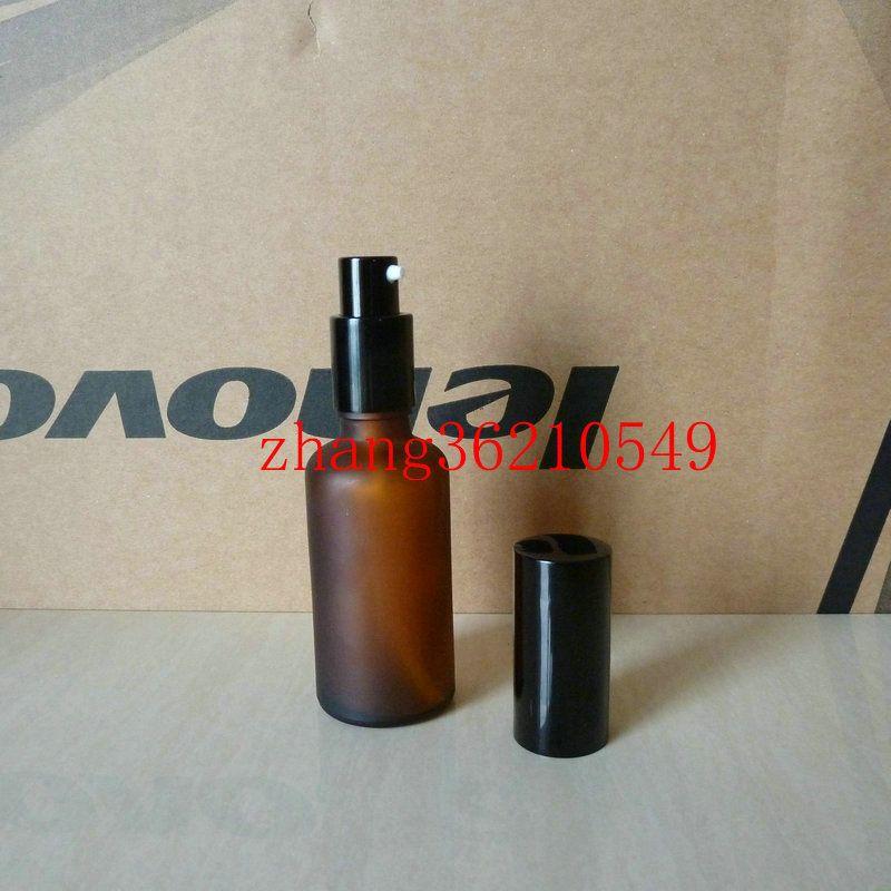 50ml 갈색 / 호박 젖빛 유리 로션 병 알루미늄 반짝 이는 검은 pump.for 로션과 에센셜 오일. 로션 크림 용기