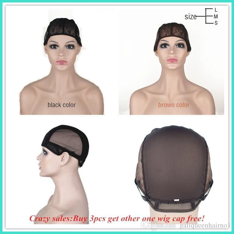 Peruca cap para fazer perucas com alça ajustável na parte de trás tecelagem cap tamanho S / M / L sem cola peruca tampas de boa qualidade frete grátis