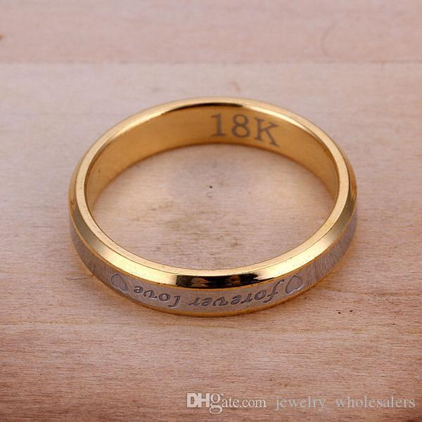 Forever love couple rings set 18K gold plated steel two tone