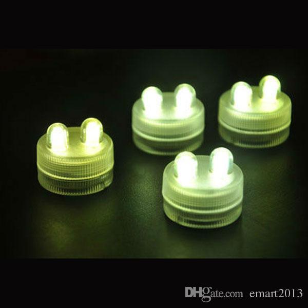 100 unids Dual Din Sumergible Impermeable LED Floralyte Tea Lights Candle Lamps para Wedding Party Decoration 11 colores