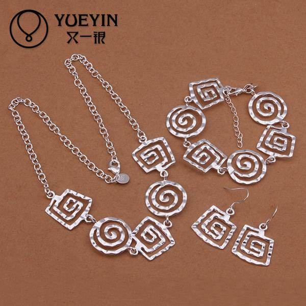 dS431 hot bulk sale cheap Sterling silver jewelry sets, free shipping 925 silver necklace bracelet earring set