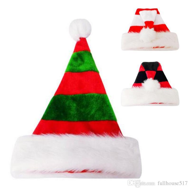 gestreifte warme Plüsch Weihnachten Hut Santa Kostüm Cap Xmas Party Geschenke Dekor für Erwachsene Kinder rot und grün / weiß und rot / rot und schwarz