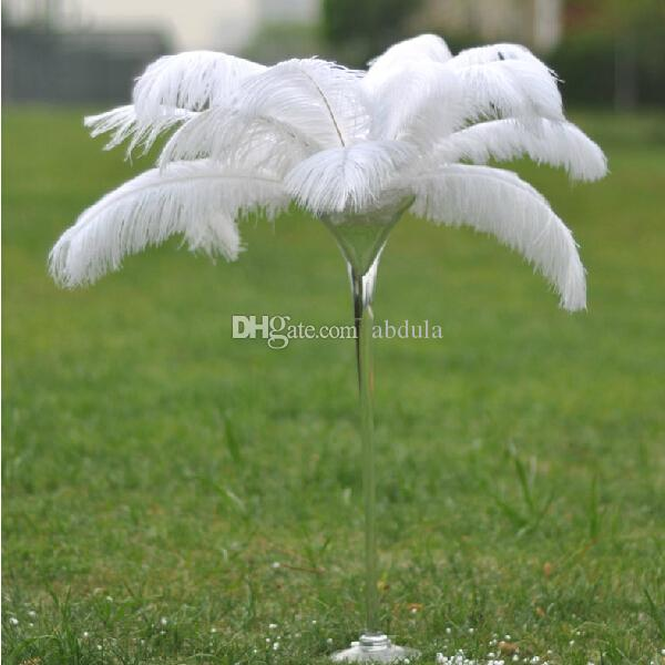 Piume di struzzo bianco poco costoso 50-55cm 20-22 pollici struzzo Piume tinti Plume Tabella Centrotavola festa di nozze Centrotavola centro tavola