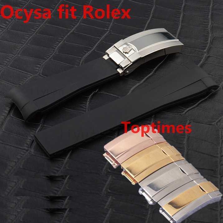 وارتفع الذهب المشبك OcYSA الأسود SUB 20MM دائم للماء الفرقة ووتش العصابات الساعات إكسسوارات للطي مشبك حزام من المطاط