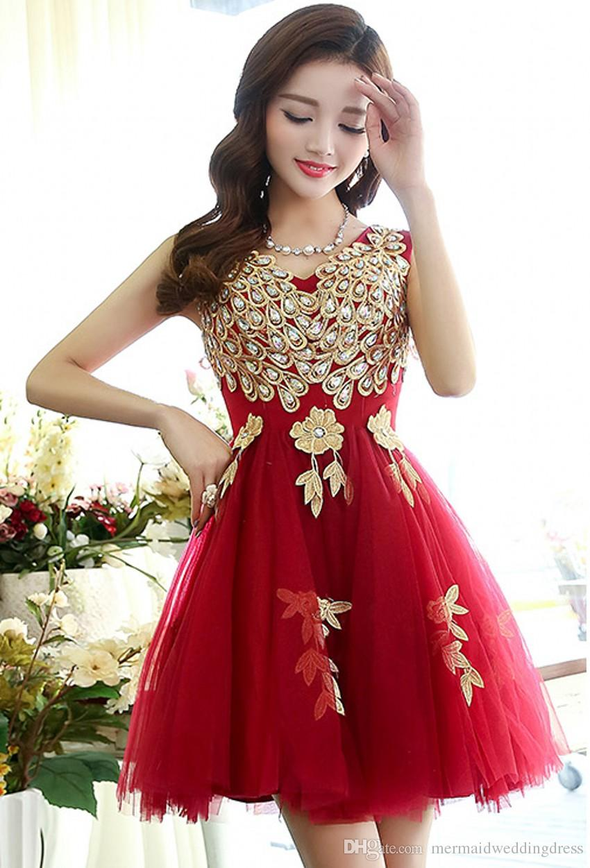 Cheap Red Peacock Cocktail Dress 2016 Fashion High Collar Lace ...
