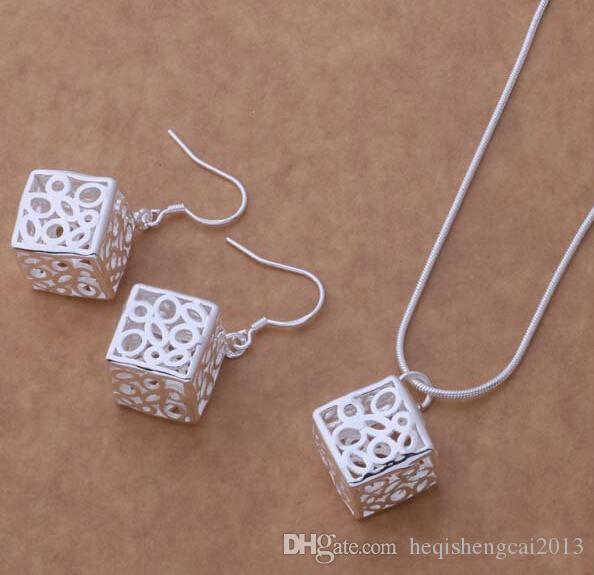 Moda charme pingente cadeia de cobra oco praça 925 prata colar de jóias conjuntos 10set / lot