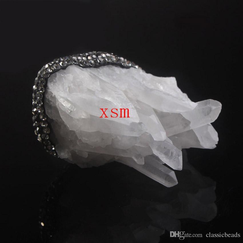 2016 neue Mode, Natürlichen Bergkristall Quarz Cluster Druzy Mit Strass Kristall Anhänger Für Frauen Pullover Kette Anhänger 5 stück Kostenloser versand