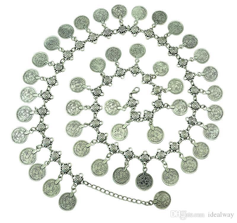 Gypsy Metal de prata Dangle Coins Belly Chains 43pieces moedas Hippie Boho Bohemian Shimmy Cinto sino dança cadeia corpo corrente