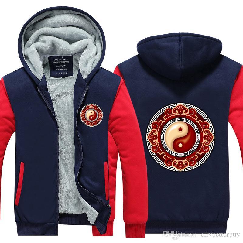 Yeni sıcak erkek kapşonlu kış Tai Chi 3D Yenilikçi HoodieSweatshirts Thikcen Fleece Kış Coat Fermuar Ceket ABD, AB Plus Size basılı