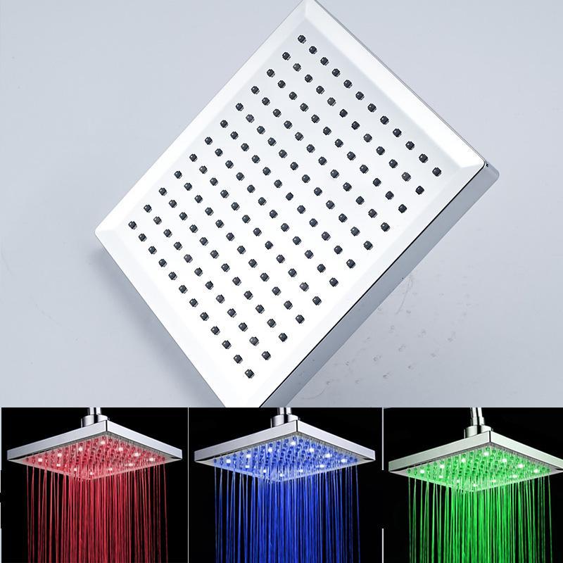 Meilleure vente de haute qualité 8 pouces en plastique ABS pommeau de douche de pluie avec LED changement de couleur de la lumière