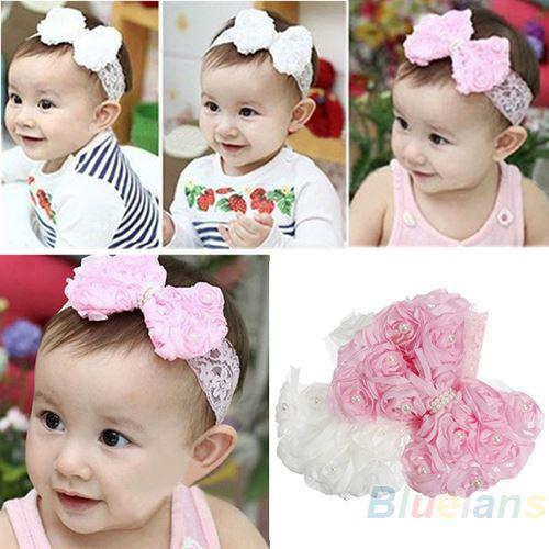 Beautiful Baby Lace Pearl Headband Girls Headband UK Seller