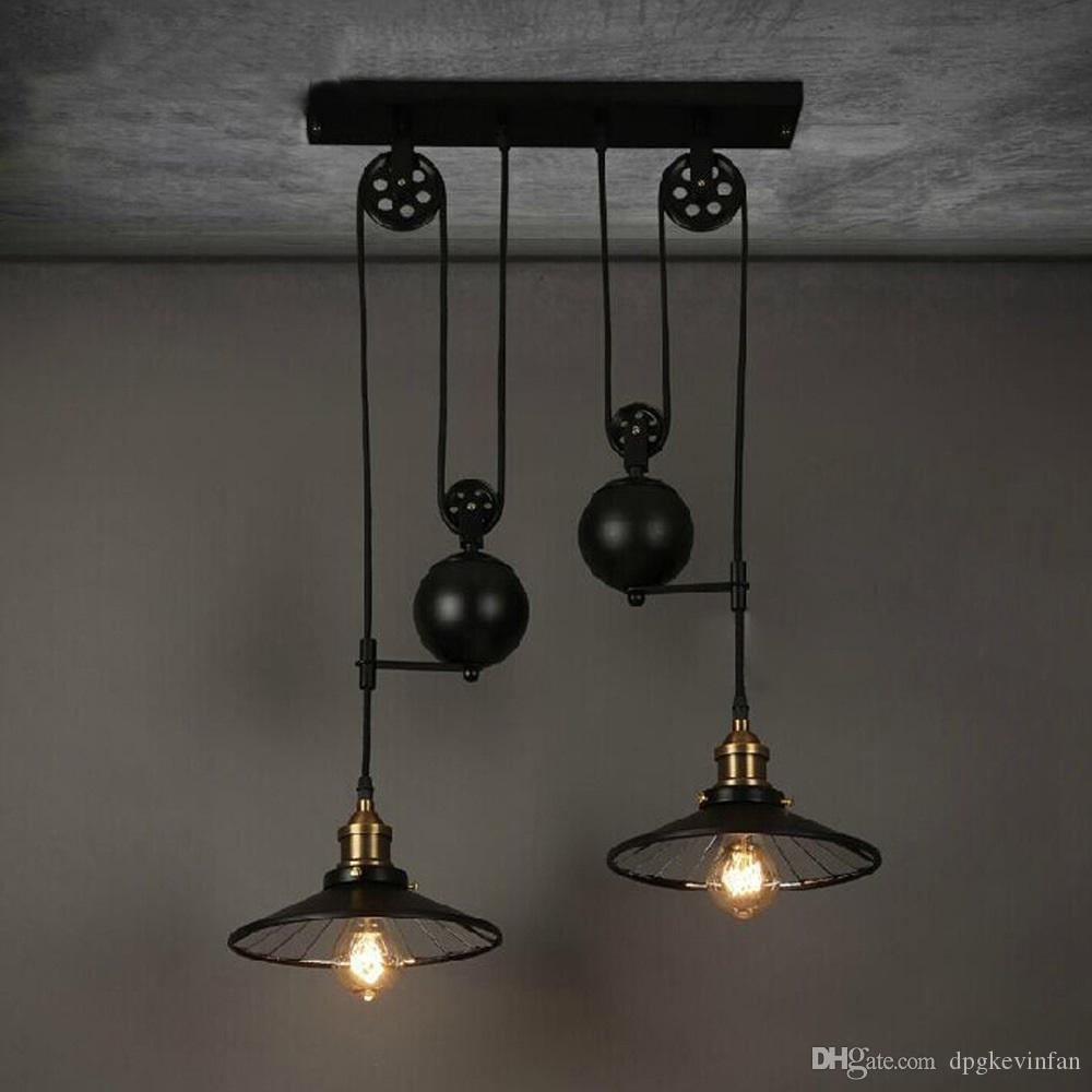 Pendant lights pulley lift chandelier american retro industrial pendant lights pulley lift chandelier american retro industrial style e27 three heads hotel lamps study living aloadofball Images