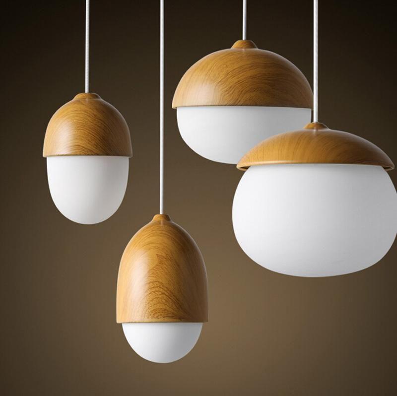 북유럽 유리 LED 펜던트 라이트 나무 컬러 단일 교수형 거실 거실 바 Reaustant 조명 장식
