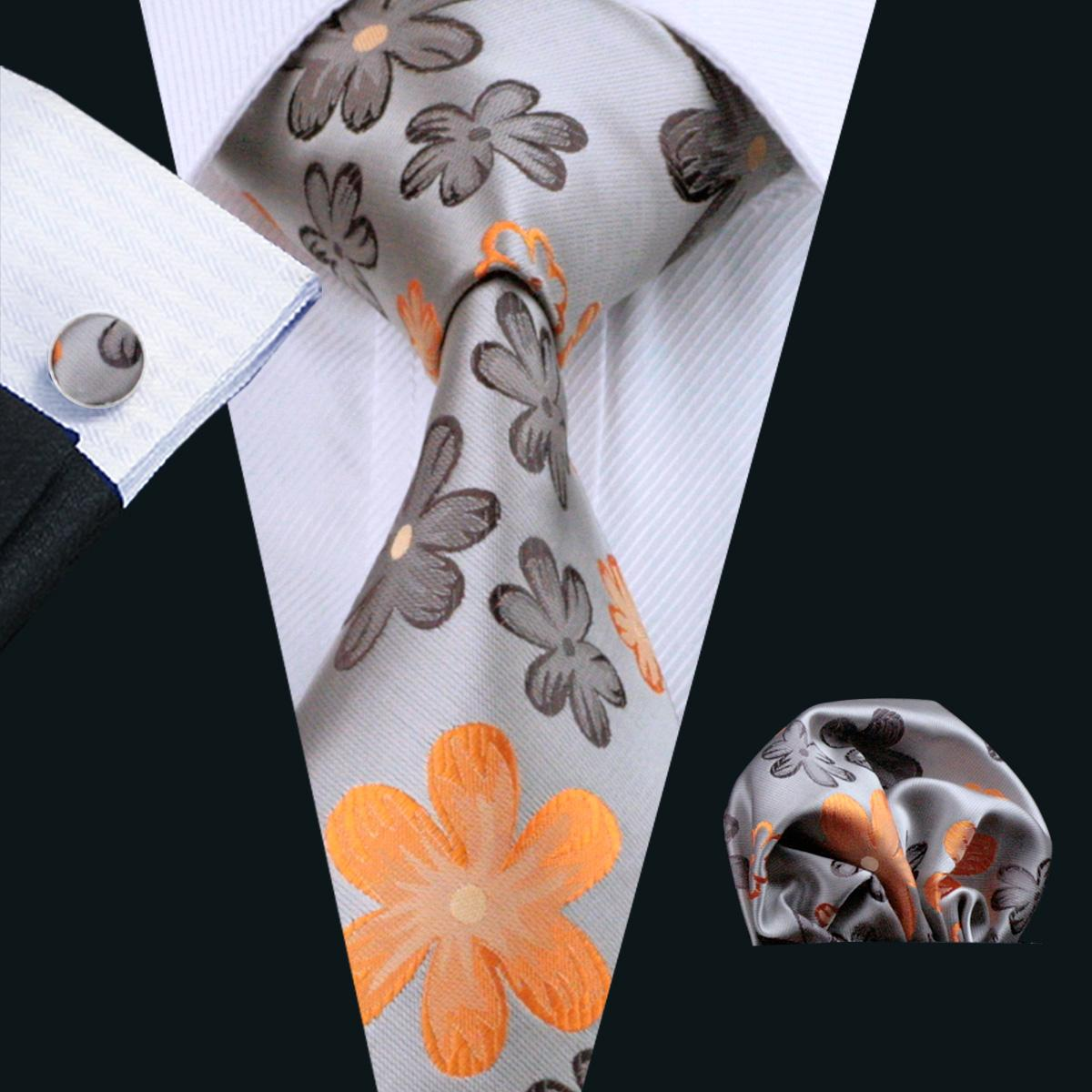 Geel Floral Silk Mens Tie Set Pocket Square Manchetknopen Klassieke Zijde Jacquard Geweven Bruiloft Business Casual Stropdas N-1016
