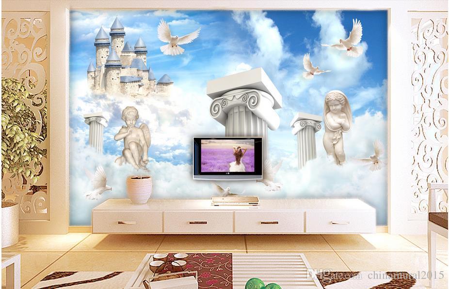 fondos de escritorio 3D moderno 3D romántica columna romana ángel cielo azul con nubes blancas murales personalizados murales de fotos