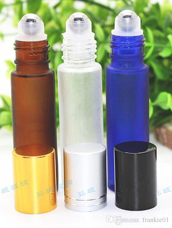 Vape green red amber Blue 10ml 1 3oz ROLL ON 젖빛 향기 GLASS BOTTLE ESSENTIAL OIL 스테인레스 스틸 롤러 볼 병