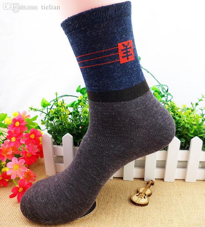 Al por mayor-40pcs = 20Pairs Calcetines de los hombres Calcetín largo y grueso Classic Business Hombre Breve calcetín de lana del hombre Calcetines de otoño Winter mezclado color al azar