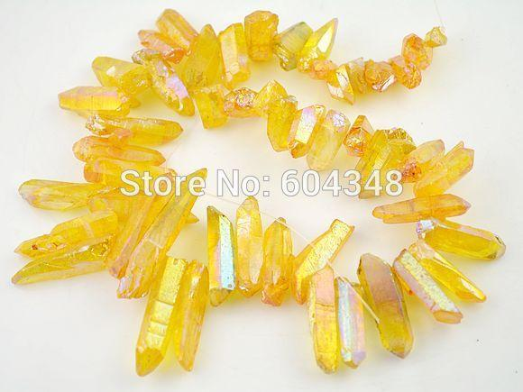 Full strand Druzy Titanium Crystal Point Beads, Druzy Quartz Stone Loose Bead in Yellow AB color, Rock Crystal Drusy Chain Beads