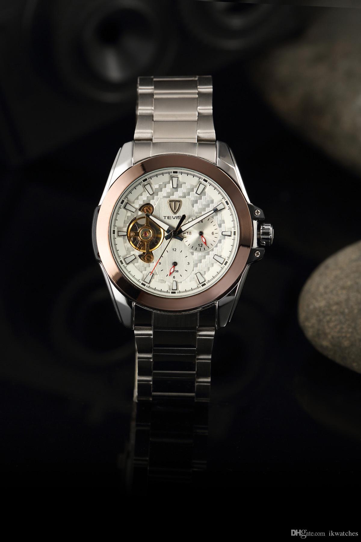 Мода наручные часы автоматические механические наручные часы мужские tevise часы TV55
