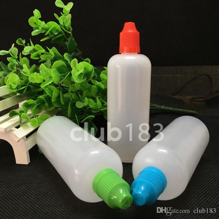 Heißer Verkauf 120ml E-Liquid Nadelflasche Plastikflaschen Kindergesicherte Cap Lange dünne Spitze für elektronische Zigarette E-Flüssigkeitsflaschen
