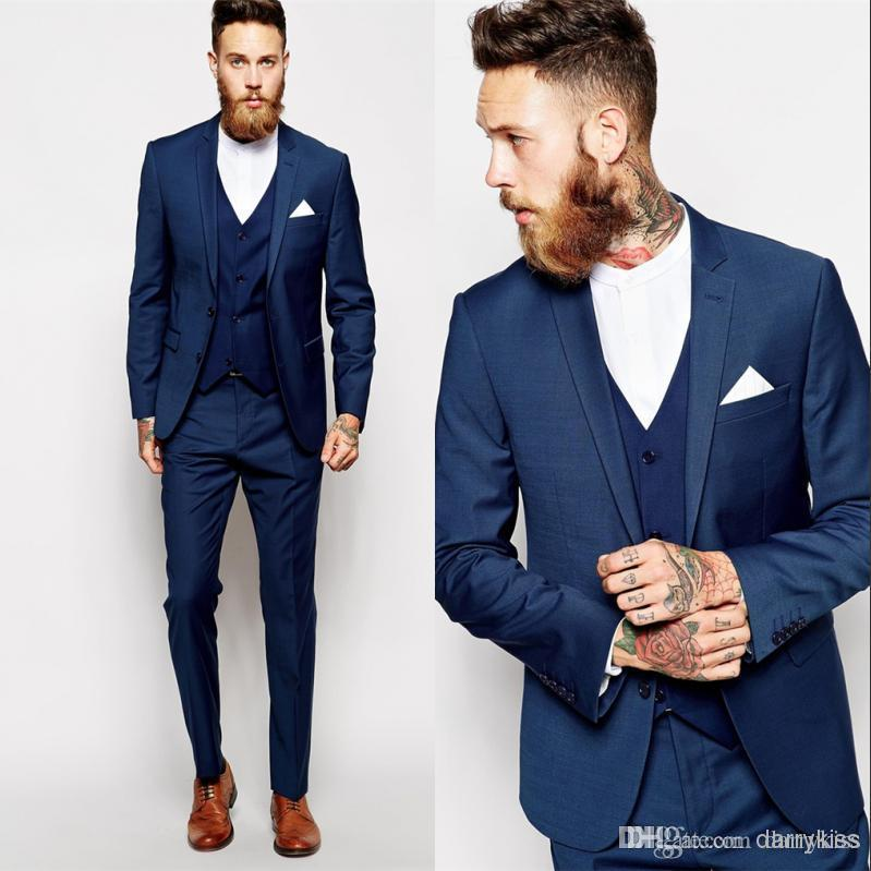 Cheap Blue 2015 Groom Tuxedos Slim Fit Best Man Suit Formal ...